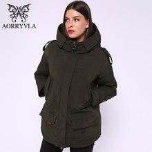 AORRYVLA yeni kış kadın kış ceket kısa 5 renkler katı kapşonlu pamuk yastıklı kadın ceket sıcak rahat kadın Parka 2020