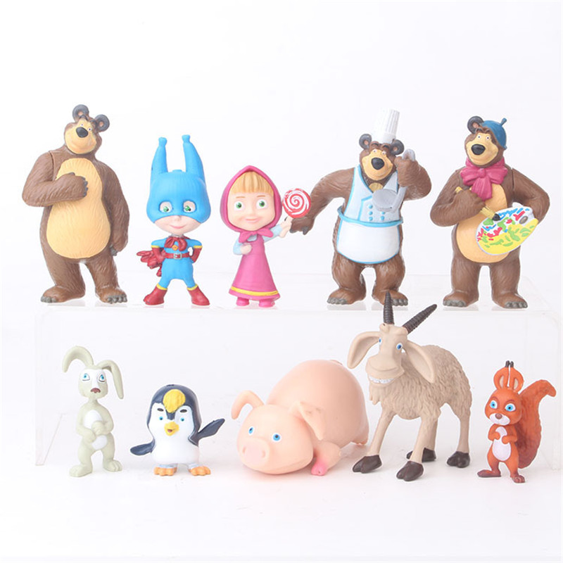 10pcs/set Russia Masha Toy Figure Doll Home Decoration Action Figure Creative Bear Doll Toy For Kids Gift
