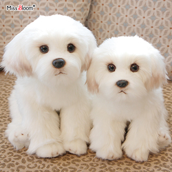 Bichon Frise Puppy Stuffed Maltese Dog Plush Toy Cute Simulation Pets Fluffy Baby Dolls Birthday Gifts for Children Dropshipping
