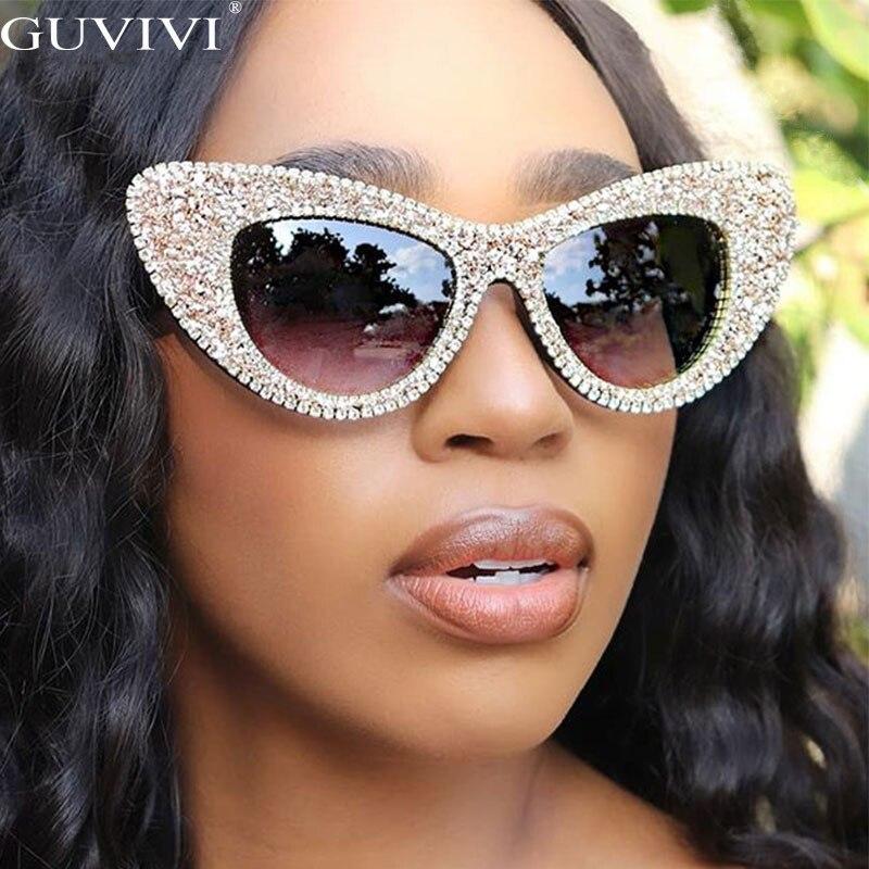 Солнцезащитные очки «кошачий глаз» для мужчин и женщин, шикарные Брендовые очки с блестящими стразами, UV400, 2020