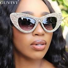 Occhio di Gatto Occhiali Da Sole di grandi dimensioni Donne Occhiali Da Sole di Diamante Del Rhinestone di Scintillio Occhiali Da Sole Da Uomo 2020 di Marca di Lusso Occhiali UV400