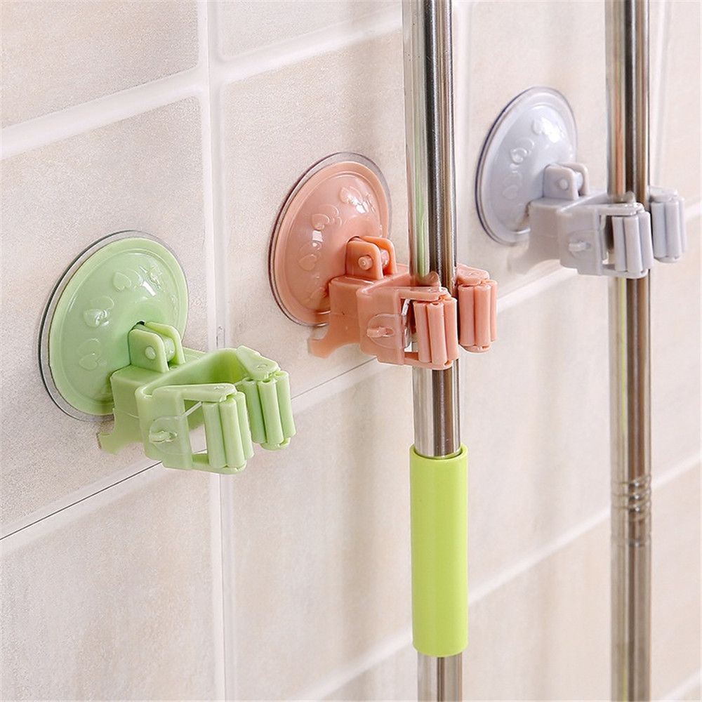 Kitchen Bathroom Mop Broom Holder Rack With Suctions Cup Wall Mounted Mop Home Storage Rack