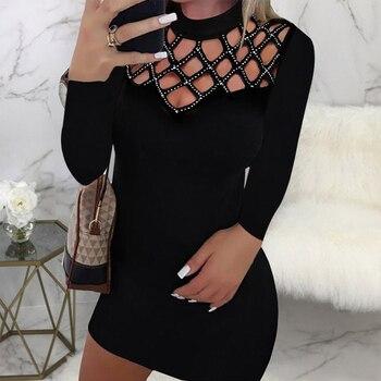 Dress Women Casual Black Short Sleeve V Neck Rhinestone Sheath Party Fashion Female Mini Streetwear vestidos D30