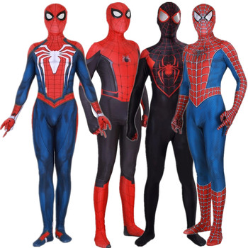 Superhero Peter Parker Miles Morales Raimi PS4 Cosplay Costume Jumpsuits Tights Halloween 3D Zentai Bodysuit Suit amazing spider 3d printing miles morales cosplay costume zentai spider pattern bodysuit jumpsuits halloween costume for adults