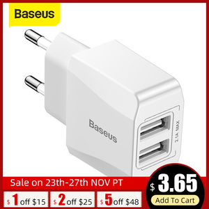 Baseus 5V 2.1A USB Charger Dual-U Fast USB Charger Travel Wall Charger EU Adapter for iPhone Samsung Xiaomi Mobile Phone Charger