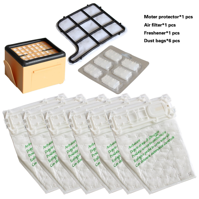 Multi-sets HEPA Filter Motor Protection Filter Freshener Dust Bags For Vacuum Cleaner Folletto Vorwerk Kobold VK135 VK136 VK369