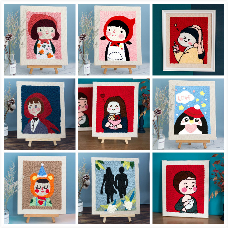 Creative DIY Embroidery Kits Cartoon Hand 3D Landscape Poke Stitching With Hoop Or Frame Needlework Modern Adults Craft Sewing