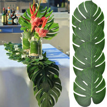 12pcs Summer Tropical Artificial Palm Leaves Hawaiian Luau Jungle Birthday Party Table Decoration Wedding Home Decor Baby Shower