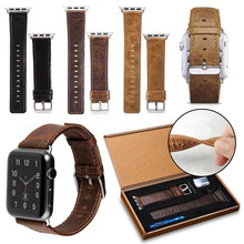 Leather Vintage Mad Horse Print Watch Strap For Apple Series 54321 38/40mm 42/44mm 28 Colors To Choose
