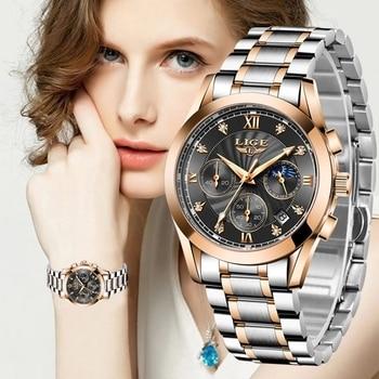 LIGE 2021 New Fashion Watch Women Watches Ladies Creative Steel Women Bracelet Watches Female Waterproof Clocks Relogio Feminino 1