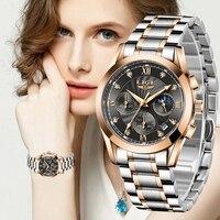 LIGE 2021 yeni moda İzle kadınlar saatler bayanlar yaratıcı çelik kadınlar bilezik saatler kadın su geçirmez saatler Relogio Feminino