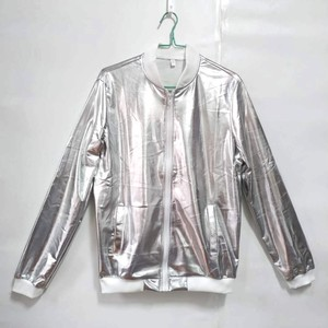 Image 3 - 2020 New Fashion Jacket Men Silver Shiny Fabric Hip hop Streetwear Slim Fit Stretch Stage Dance Clothing Plus Size