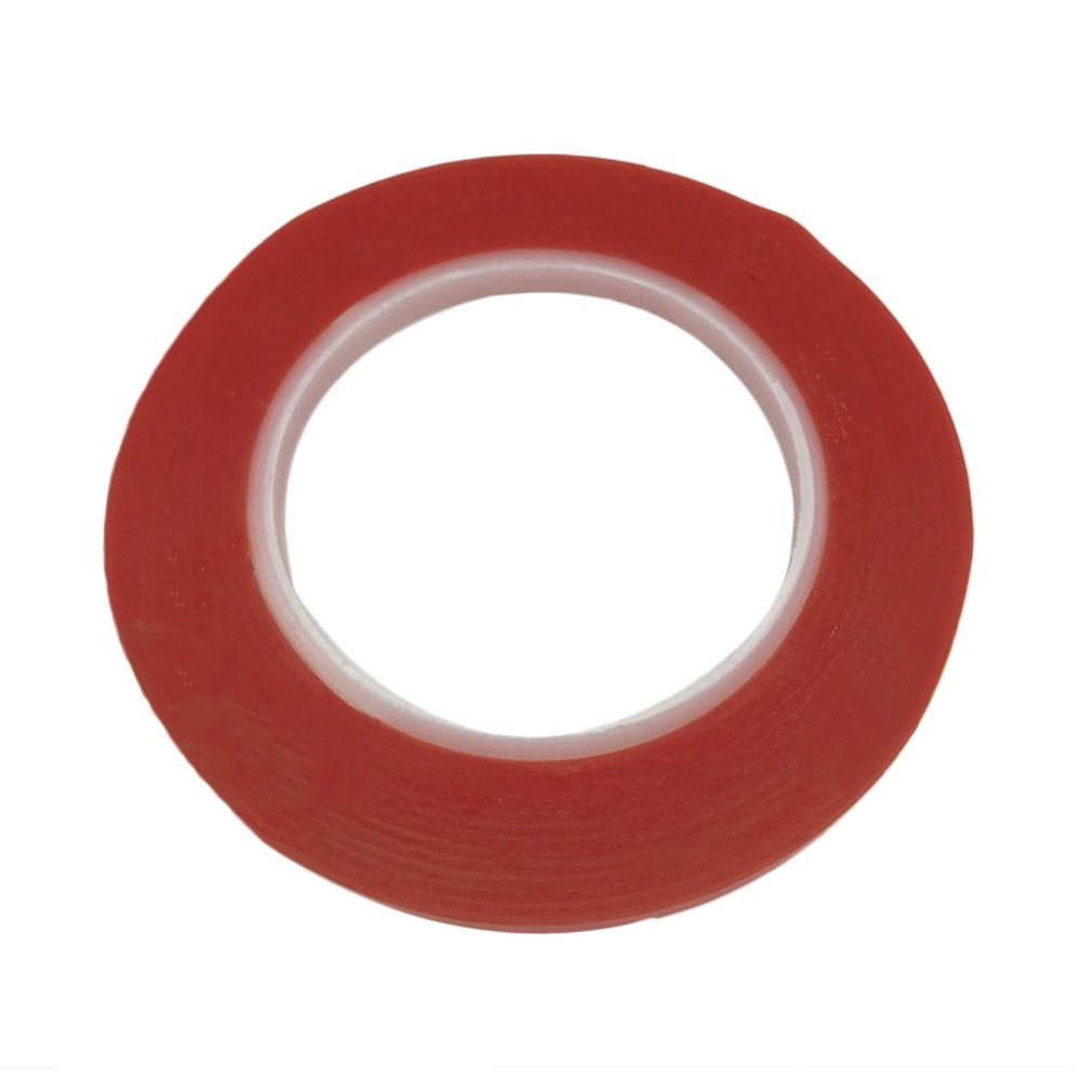 25M/Roll Waterproof Red Film Transparent Double Side Adhesive Tape 1mm /2mm/5mm/8mm Width High Temperature Resistance Tape