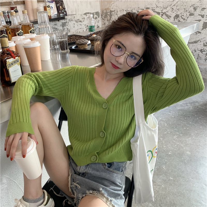 Short Cardigan Women V-Neck Knitted Sweater Coat Long Sleeve Tops Single Breasted With Three Buttons Casual Cardigans