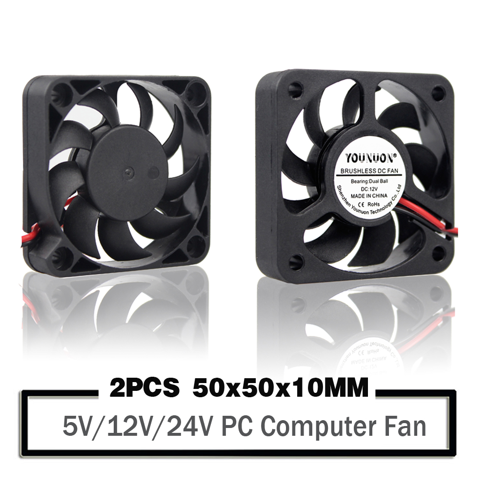 2PCS YOUNUON 5010 50*50*10 <font><b>5V</b></font> 12V 24V Cooling <font><b>Fan</b></font> 2PIN 3Pin USB <font><b>50mm</b></font> 5cm PC Laptop Computer Industrial Cooling <font><b>Fan</b></font> image