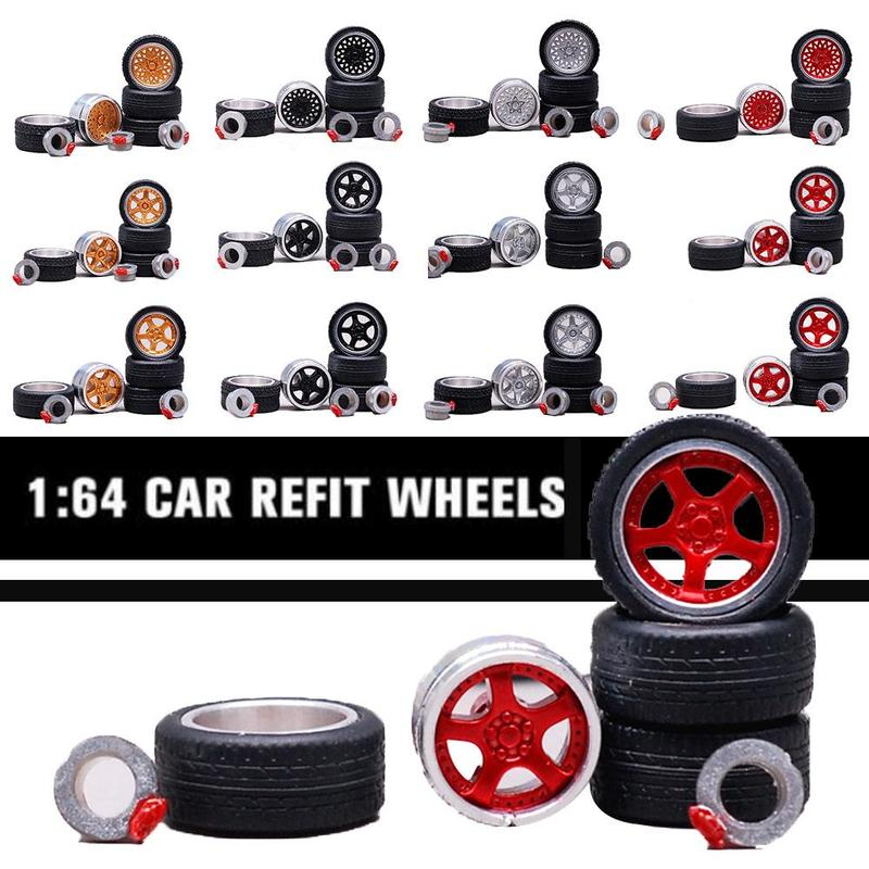 1/64 Tire Model Accessories Alloy Wheel Rims Tires Tyres For Model Car Modification Parts Toys