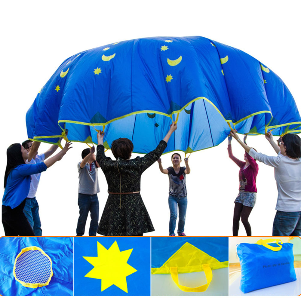 Free Ship Foldable 1.8m Jump-sack Rainbow Umbrella Kids Play Parachute Sport Activity Teamwork Game Toy For Kids Gifts игрушки
