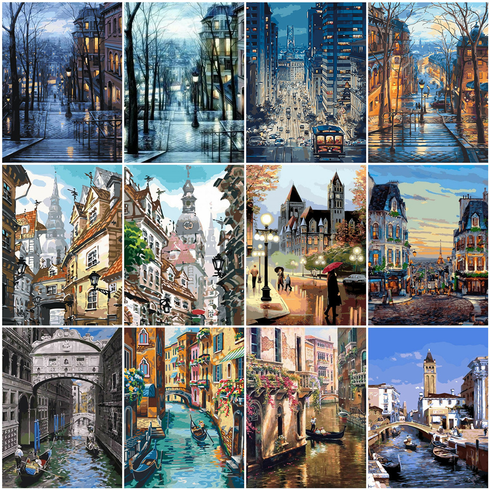AZQSD Oil Painting By Numbers Landscape DIY Acrylic Paint Coloring By Numbers City Scenery Canvas Pictures Living Room Gift