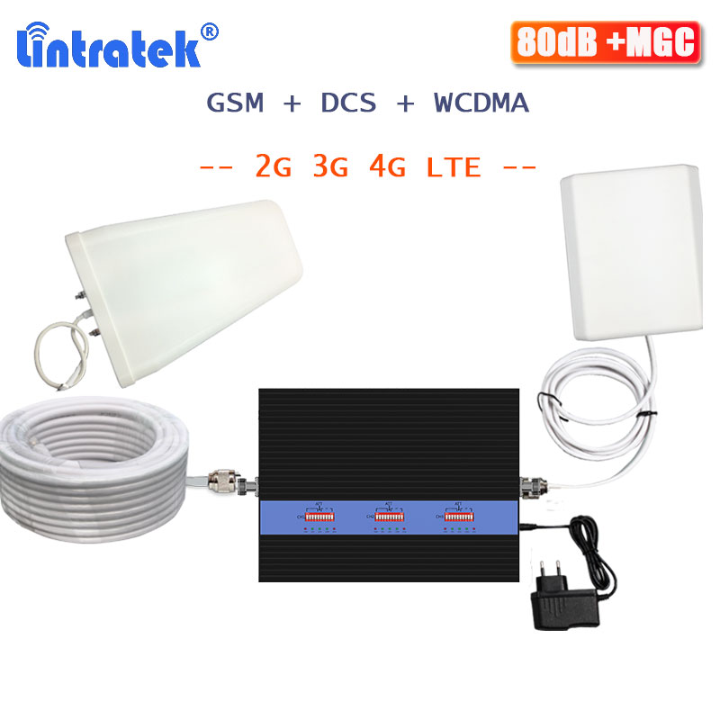 Lintratek Tri Band Repeater GSM 2G 3G 4G Signal Booster GSM 900 1800 2100 WCDMA DCS LTE Repeater Cellular Signal Amplifer Voice