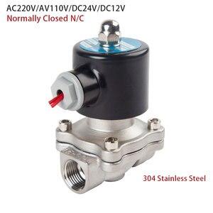 "Image 3 - الفولاذ المقاوم للصدأ الكهربائية الملف اللولبي صمام 1/4 ""3/8"" 1/2 ""3/4"" 1 ""عادة مغلقة هوائي للمياه النفط الهواء الغاز 12 فولت/24 فولت/220 فولت/110 فولت"