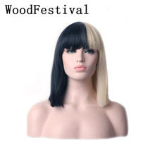 WoodFestival Womens Short Cosplay Wig Hair Straight Bob Heat Resistant Synthetic Wigs with bangs short full bang straight bob synthetic wig