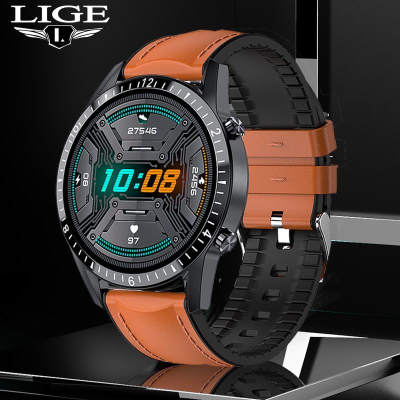 LIGE Full Touch Screen Men Smartwatch Heart Rate Blood Oxygen Monitor Bluetooth Call Message Reminder Sports Smart Watch Women