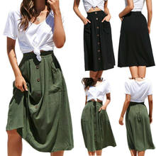 Women New Fashion Elastic Summer High Waist Skirt Button Front Loose Fitting Retro Mid Skirts Hot(China)