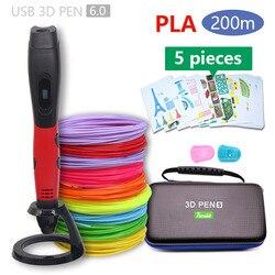 Autêntico 3d caneta impressão 3d pen-3d 1.75mm pla filamento presentes de natal + pintura livre desenhos frete grátis 5 v 2a usb adaptador
