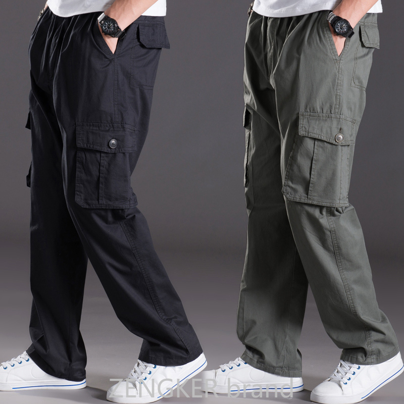 spring summer casual pants male big size 6XL Multi Pocket Jeans oversize Pants overalls elastic waist pants plus size men(China)