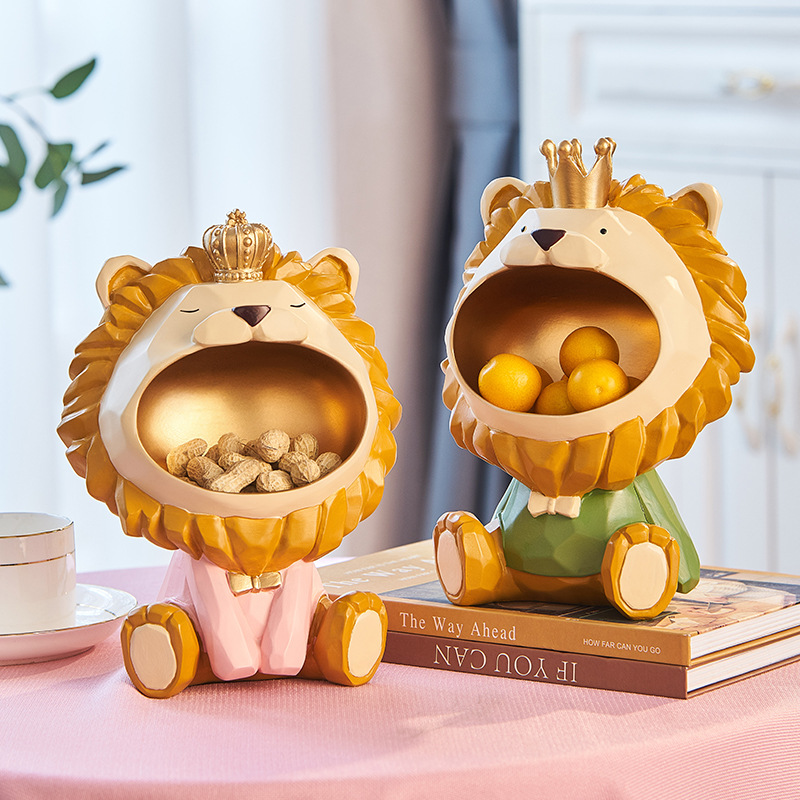 3D Lion Statues Circle Toy Art Metal Still Life Photography Figurine Miniature Just6F