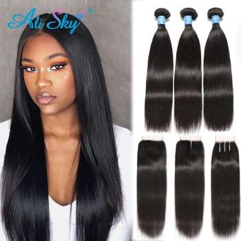 цена на Alisky Hair Peruvian Straight Hair 3 Bundles With Lace Closure Human Hair Weave Bundles With Closure 4x4 Remy Hair Extensions