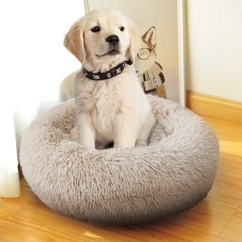 Round Plush Dog Mattress Warm Winter Sleeping Cat Litter Plush Dog Basket Pet Cushion Soft Washable Pet Bed Warm Winter Sofa image
