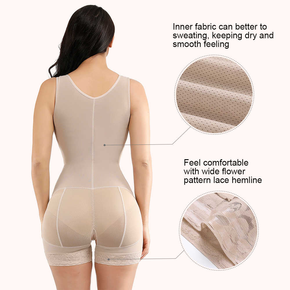FeelinGirl Shapewear for Women Lace Thigh Slimmer Hooks U Neck Glue Big Size Crotchless Bodysuits Full Body Shaper Black XL