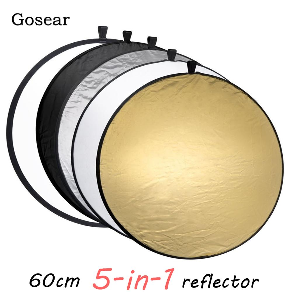 Gosear 60cm Portable Collapsible Round Camera Lighting Equipment Photo Disc Reflector Diffuser Kit Carrying Case Photography