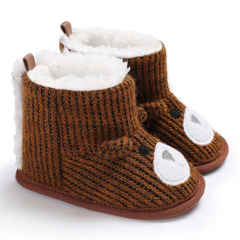 Baby Boots Winter Newborn Boots Warm Cute Bear Plus Velvet Warm Soft Bottom Toddler Shoes