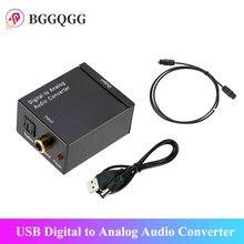 Venda quente usb digital para conversor de áudio analógico dac amplificador adaptador com rca r/l saída coaxial spdif óptico áudio digital para fora