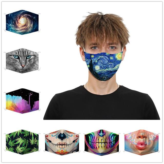 Fashion Reusable 3D Printing PM2.5 Filter Mouth Face Mask Unisex Funny Mouth Muffle Mask Sports Windproof Breathabl Masks Anime