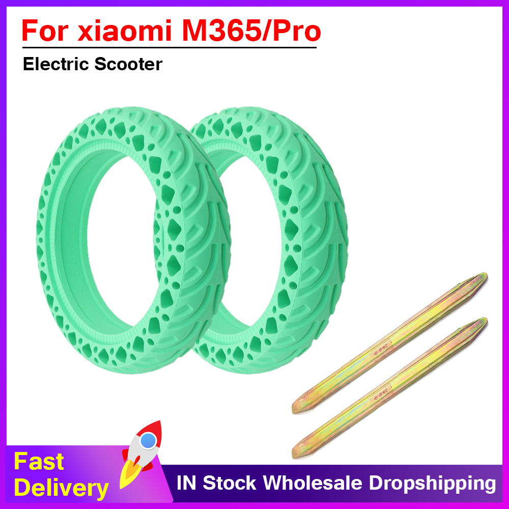 Durable Updated Electric Scooter Tyre Anti-Explosion Tire Tubeless Hollow Solid green Tyre Wheel for Xiaomi Mijia Pro M365