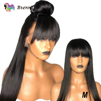 Brennas Lace wig with bangs Brazilian Straight hair 13x6 lace front wig with Bangs non-Remy hair lace wig natural color 150%D