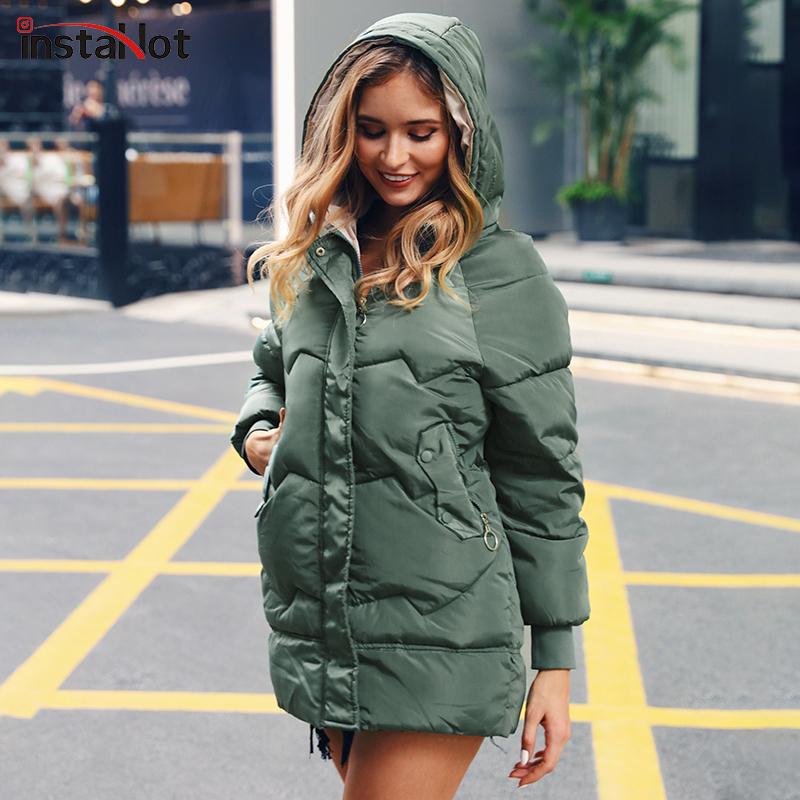 InstaHot Padded Basic Jacket Coat Women Warm Winter Green Black Parkas Jackets Female Hoodies Casual Outerwear Thick Coat