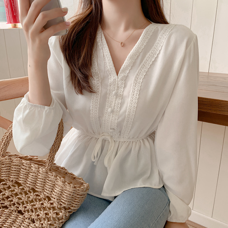 shintimes V-Neck White   Blouse   Sashes Casual Woman Clothes 2019 Fall Lace Long Sleeve   Shirt   Women   Blouses     Shirts   Chemisier Femme