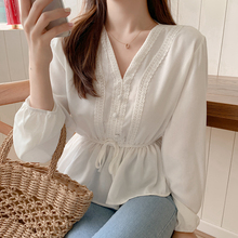 shintimes V-Neck White Blouse Sashes Casual Woman Clothes 2019 Fall Lace Long Sl
