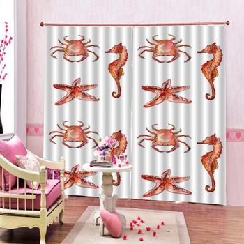 custom 3d curtain fabric curtain for living Crab starfish seahorse 3d Curtains Blackout for Living Room Kids Bedroom Fabric