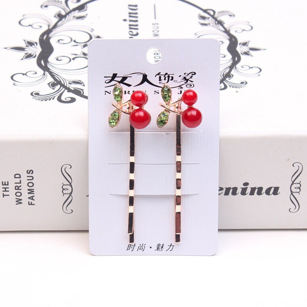 2pcs Fashion New Korea Cherry Hair Clips Shiny Rhinestone Crystal Flower Metal Hairgrip For Girl Women Headwear Hair Accessories