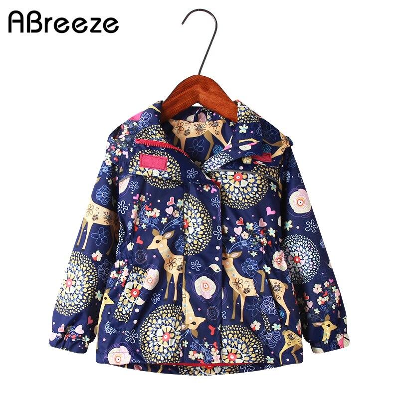 New spring autumn children hooded coats 2-9 years waterproof jackets for girls fashion deer flower print kids girls outerwear