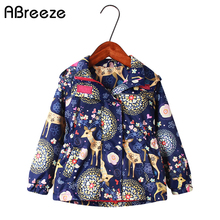 New spring autumn children hooded coats 2 9 years waterproof jackets for girls fashion deer flower print kids girls outerwear