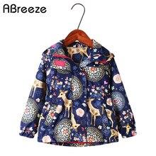 Nowa wiosna jesień dzieci płaszcze z kapturem 2 9 lat wodoodporne kurtki dla dziewczynek moda deer flower print dzieci odzież dla dziewczynek