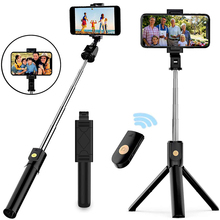 Xiletu bastão de selfie 3 em 1 sem fio, mini tripé dobrável, expansível e com controle remoto, para iphone, ios e android