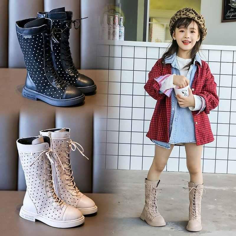 Grote Kid Meisjes Leren Laarzen Rome Stijl Laarzen kniehoge voor Kinderen Meisjes Zwart Beige Prinses Schoenen In de Winter autumnSC131