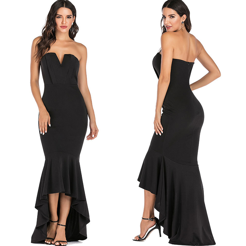Mermaid Sexy off shoulder Tube top white Dress bodycon Backless Night club Beach Maxi Dress Party Long Women elegant Dress 2020 3